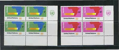 UNITED NATIONS 1973 NAMIBE PROJECT COMP. SET BLOCK OF 8 STAMPS SC#240-241 MINT