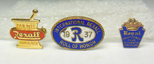 Vtg.Rexall Pharmacy Co.ROLL OF HONOR&MERIT employee service award Tie/Lapel pins