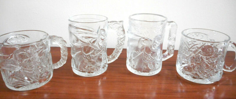 Batman Forever McDonalds 1995 Complete Set 4 Embossed Glass Mugs, New Old Stock