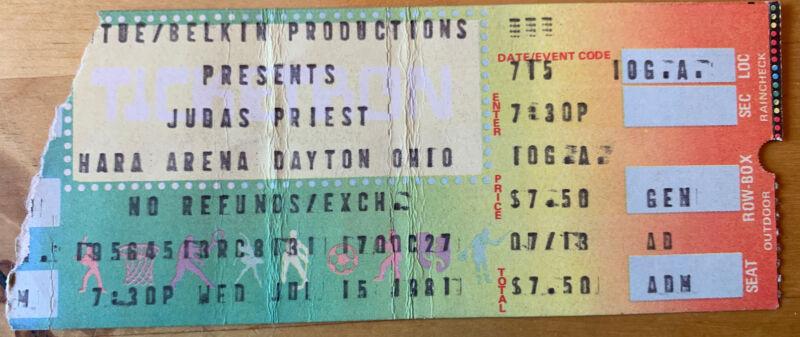 1981 Judas Priest Iron Maiden Whitesnake Hara Arena Dayton Concert Ticket Stub