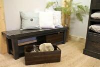 Reclaimed Wood Bench $725, Baskets $95/per. By LIKEN Woodworks