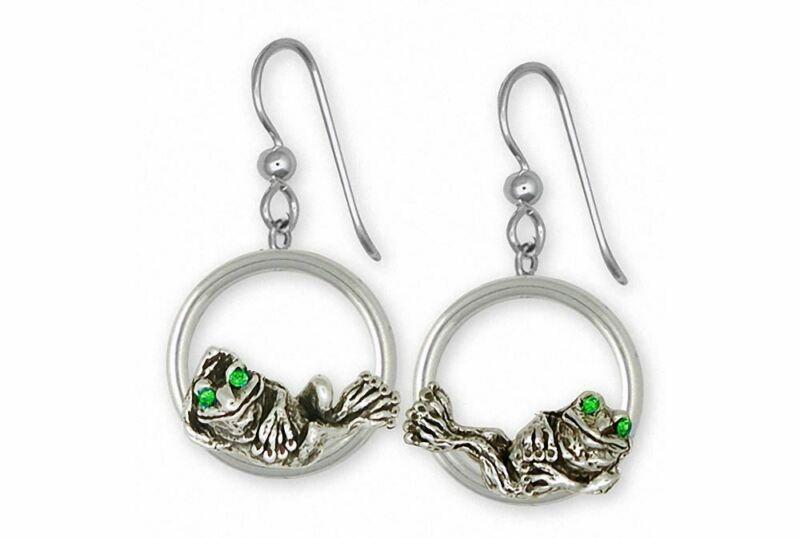 Frog Earrings Jewelry Sterling Silver Handmade Frog Earrings FG9-XDE