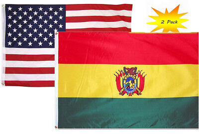 2x3 2'x3' Wholesale Set (2 Pack) USA American & Bolivia Country Flag Banner