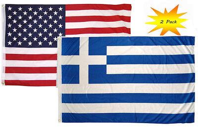 2x3 0.6mx3 'Großhandel Combo USA Amerikanischer & Griechenland Griechisch Flagge