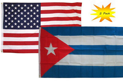 3x5 3'x5' Wholesale Set  USA American & Cuba Cuban Count