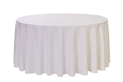 108 inch Round Polyester Tablecloth White, Fits 4, 5, 6 Ft T