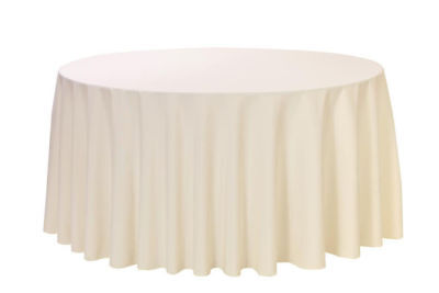 "Polyester Tablecloth ~ 120"" inch ROUND ~ Ivory"