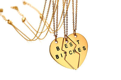 New Stainless Steel Split Heart 3 Piece BFF Best Bitches Necklaces for Women