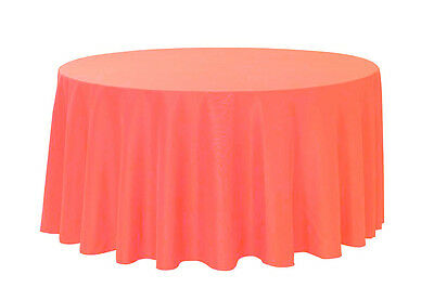 132 inch Round Polyester Tablecloth Coral](Coral Table Cloth)