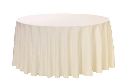 108 inch Round Polyester Tablecloth Ivory, For 4 Ft,5 Ft,6 F