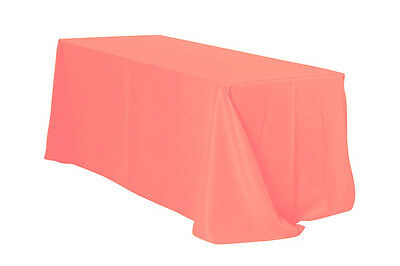 90 x 132 inch Rectangular Polyester Tablecloth Coral](Coral Table Cloth)