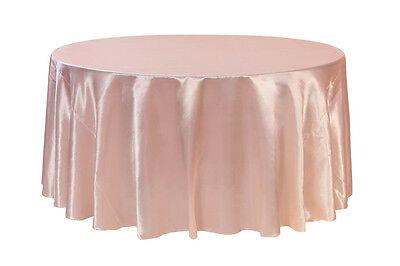 120 inch Round Satin Tablecloth Blush