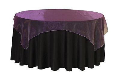 72 inch Square Organza Table Overlay Purple ()