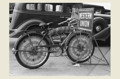 1938 Western Union Bicycle PHOTO,Delivery Sign, Messenger Great Depression LA