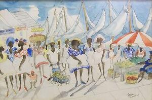 "Joe MIRON  American Artist Original Aquarelle Watercolor ""Nassau"