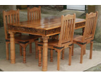 Solid 'Jari Mango Wood' Dining Table & Four Chairs - *Free Delivery