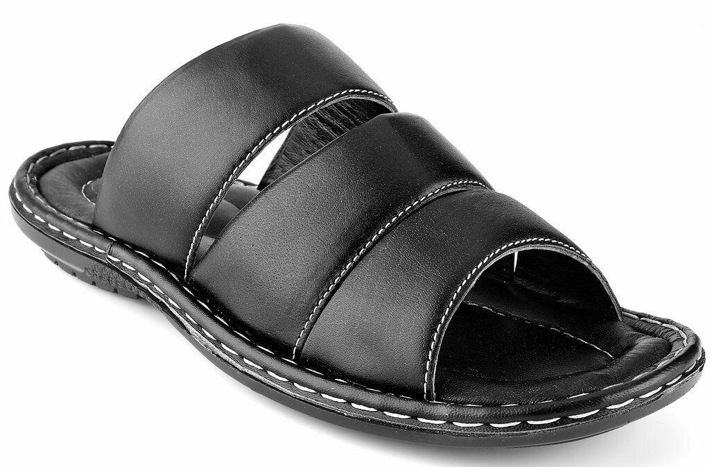 Men's Open Toe Sandals Top Grain Leather Soft Cushion Footbed Stripes Sizes 7-13
