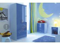 Kids blue gloss 3 piece BEDROOM FURNITURE