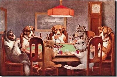 Poker Dogs Metal Tin Sign Man Cave Bar Garage Game Dorm Room Picture Gift New
