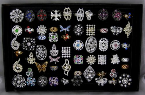 New Wholesale 60 Piece Adjustable Rhinestone Ring Lot with Display