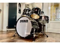 Premier Projector MK2 Professionally Restored 5 Piece Drum Kit Shell Pack in Gloss Black.