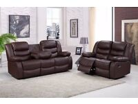 Romaro 3 + 2 Brown Bonded Leather Luxury Recliner Sofa Set With Pull Down Drink Holder. UK Delivery!