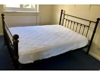 METAL FRAME DOUBLE BED WITH MATTRESS & MATTRESS COVER