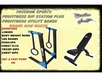 PROFITNESS UTILITY BENCH WITH PROFITNESS DIP STATION BRAND NEW BOXED PLEASE SEE ALL PHOTOS