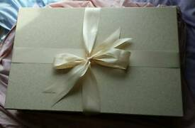Wedding dress storage box, ties with bow, includes acid free tissue paper