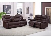 Brand New Leather Recliner Sofa set £249.99