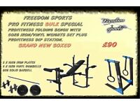 WEIGHTS BENCH WITH WEIGHTS AND DIP STATION BRAND NEW BOXED 1 SET LEFT 2 DAY SPECIAL £75