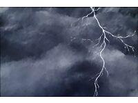 Painting - Original Acrylic on Canvas Panel, Framed, 'Lightning Bolt' 82cm x 52cm, £20.