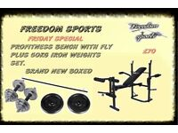 PRO WEIGHTS BENCH WITH 50KG CAST IRON CHROME/CAST BRAND NEW BOXED FRIDAY SPECIAL 1 SET LEFT