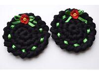 Crochet Coasters, Round, Black, Poppy Flower, Home Decor, Gift, Set of 2