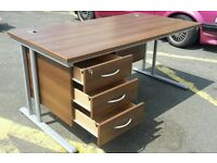 beautiful dark WOOD DESK WITH INTEGRATED DRAWERS