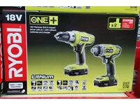 New Ryobi One+ Combi Drill & Impact driver 18v Twin Pack 2 Batteries includes Soft Ryobi case