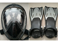 Snorkel Mask with accessories + phone waterproof case + fins