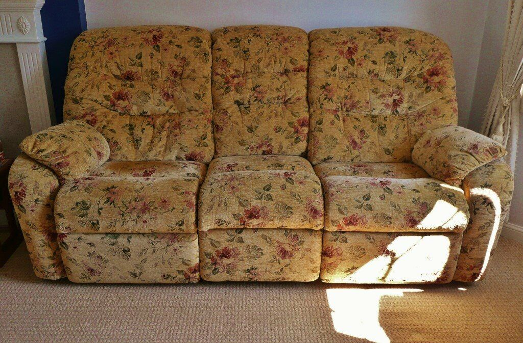 Dark Beige Red Pink Floral 3 Seater Electric Double Reclining
