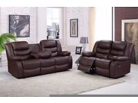 Romaro 3 & 2 Brown Luxury Recliner Sofa Set Bonded Leather With Pull Down Drink Holder. UK Delivery!
