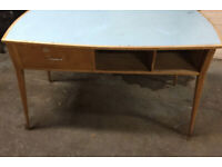 Vintage retro mid century wooden large 50s 60s blue top office work desk table