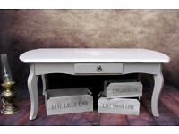 Vintage Coffee Table with Drawers Shabby Chic Painted