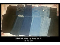 Bundle Of Skinny Leg Jeans 6 Pairs Size 12