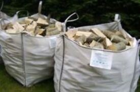 2x1ton bulk bags of barn dried seasoned hardwood firewood logs with free delivery and stacking £100