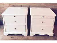 Stag Minstrel Bedside Tables - Shabby Chic - Hand Painted in Everlong Vintage Chalk Paint