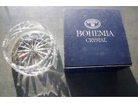 Unused vintage Bohemia Czechoslovakia hand cut lead crystal bowl, dish in original box. £18 ovno.