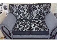 3+2 fabric seater with matching 2 stools