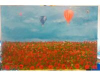 Original acrylic painting on canvas board, Hot air balloons over poppy field