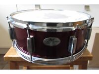 """PEARL FORUM SNARE DRUM in Red Wine Finish 14"""" x 5.5"""" (HEAT COMPRESSION SHELL SYSTEM)"""