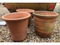 Large Terracotta & Glazed Planter Pots