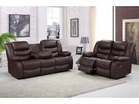 BRAND NEW BROWN BONDED LEATHER 3 AND 2 SEATER RECLINER SOFA SET FOLDING DRINKS CUP HOLDER 5 SEATER